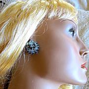 Vintage Signed WARNER Blue Rhinestone Clip Earrings