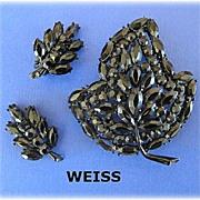 Vintage WEISS Black Rhinestone Leaf Pin with Earring
