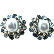 Weiss Blue Faux Pearl and Rhinestone Clip Earrings