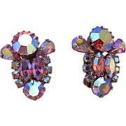 REDUCED Weiss Pink Aurora Borealis Rhinestone Clip Earrings