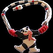 Vintage Ruby Z Ceramic Winter Panda Necklace by Candace Loheed