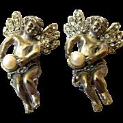 Vintage Yosca Angel Clip Earrings