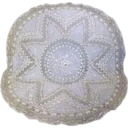 SOLD Pale Ecru or Honey Colored French Normandy Embroidery Lace Table Topper Doily 33""