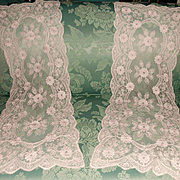 SOLD Pair French Embroidery Net Lace Runners w Blush Flowers