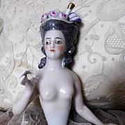 Large Perfect Porcelain Dressel & Kister Half Doll