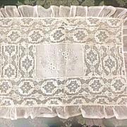 Pale Ecru & White Net Lace Boudoir Pillow