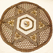 French Gold Metallic Lace Petit Point Tablecloth Doily