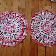 Vintage Pink  Red  Crochet  Doily Pair