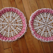 Pair of Vintage Pretty Pink Ruffled Lace Doilies