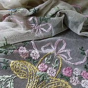 """Vintage Ribbon Embroidery Net Lace Bedspread Coverlet w Roses, Garlands and Baskets 88"""" x"""