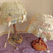 2 French  Net Lace Silk Ribbon Rosette Boudoir Night Caps Bonnets.