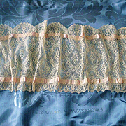 Palest Ecru Chantilly Lace  Runner, Scarf or Shawl with pink Silk Roses