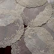 9 Organdy Machine Embroidery White Work Doily Coasters