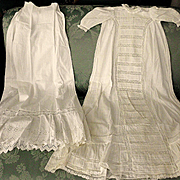 Creamy White Christening Gown & Slip Muslin Pleated Pintucks w Lace CUTTERS