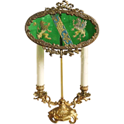 SALE Superb Bronze French Shield Lamp with Enamel Glass Crest Griffins