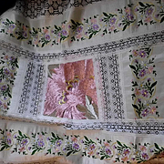 Vintage Large French Silk Embroidery Panel Runner w Lace Border