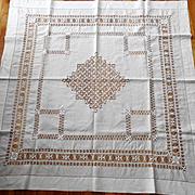 Tenerife White Tea Cloth Cotton Drawnwork Lace Tablecloth Table Topper