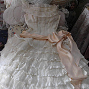 French Lace Organdy Cream Dress Saks Fifth Ave 1940-1950
