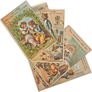 SOLD Rare Set of 6, Unused 1882 Whimsical Cat Trade Cards, Salesman Sample