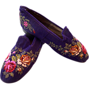SOLD RARE Antique SIGNED ca 1850-60 French Embroidered SLIPPER Shoes ~Museum Worthy~