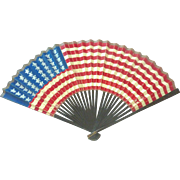 SALE PENDING RARE Antique 40 Star 1886 Hand Painted US FLAG Parade Hand FAN
