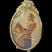 SALE Lovely VINTAGE Brass & Rose Enamel Ribbon top Easel Picture FRAME #1