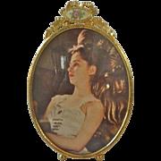 SALE Lovely VINTAGE Brass & Rose Enamel Ribbon top Easel Picture FRAME #2