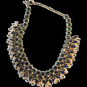 Vintage Hobe Blue Green Rhinestone Necklace