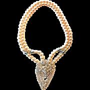 Vintage Faux Pearls With Rhinestone Pendant