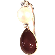 Vintage Amber and Pearl Pendant