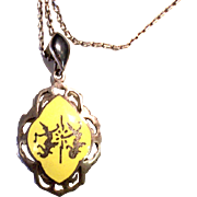 1950's Sterling Silver Yellow Siam Pendant with Chain