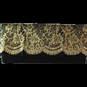 Vintage Avon Black Satin Clutch with Gold Lace Design