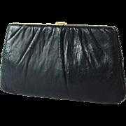 Vintage Harry Levine Navy Leather Clutch