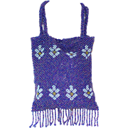 Vintage Royal Blue Beaded Bag Made for Lord & Taylor