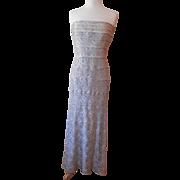 Vintage Beige Lace Floor Length Dress Size 14