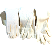 Six Pairs of Vintage White Gloves