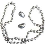 """Vintage Les Bernard Faux Silver Pearl 34"""" Necklace and Clip Earrings"""