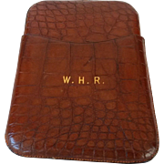 SALE English Crocodile Cigar Case with Gold Initials
