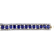 Vintage Hobe Simulated Sapphire and Crystal Bracelet