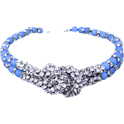 Vintage French Glass Beads and Rhinestone Necklace/Choker