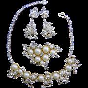 1940-50's HATTIE CARNEGIE Pearl Glass Parure
