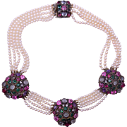 Early HOBE  Glass Pearl Necklace with Bezel Set Glass Jewels