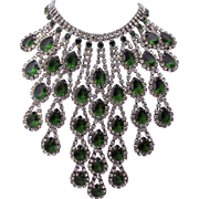 Mimi di N Crystal and Glass Emerald Necklace 1960's