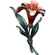 Early REJA Lily brooch pin 1940's