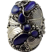 Very Large Sterling and Lapis Bracelet/Cuff
