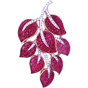 Trifari Invisibly Set Ruby Glass and Crystal Leaf Pin