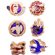 Vendome COMPLETE SET Georges Braque Inspired Pins 1960's