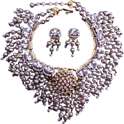 VRBA Pearl and Crystal Necklace & Earring Set