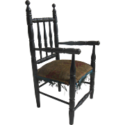 SOLD Antique french faux ebony doll chair ca 1880