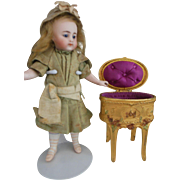 Sweet little gild trinket or jewelry box for Mignonette or All Bisque doll